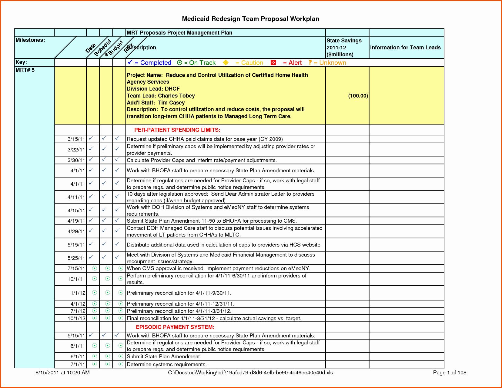 Work Plan Template Excel