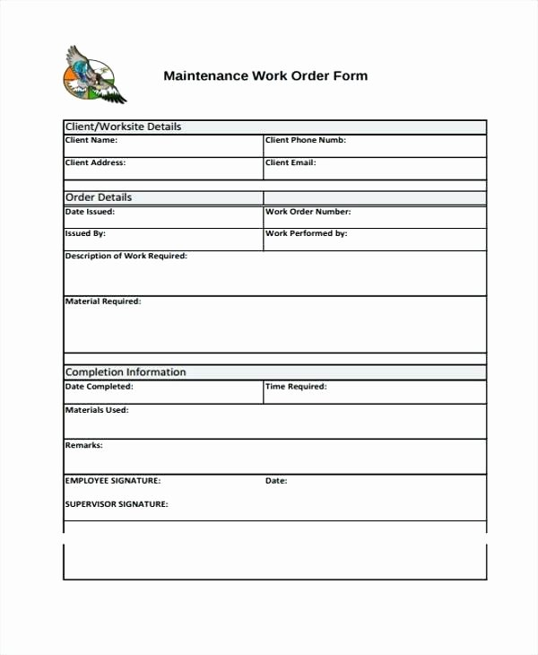 Work Request Template Excel Maintenance Work order