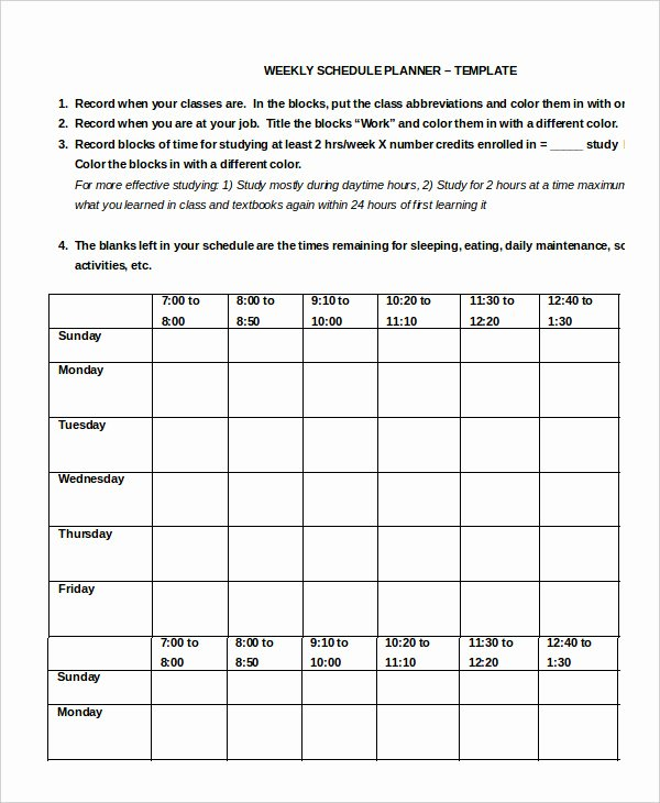 Work Schedule 11 Free Word Excel Pdf Documents
