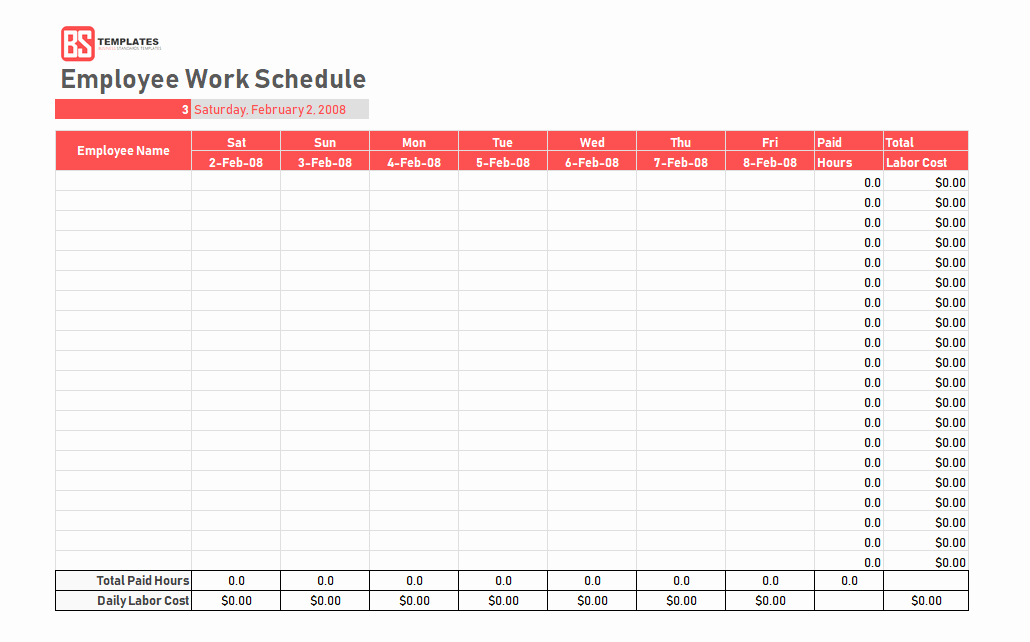 Work Schedule Template Daily Weekly