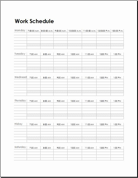 Work Schedule Templates for Employees