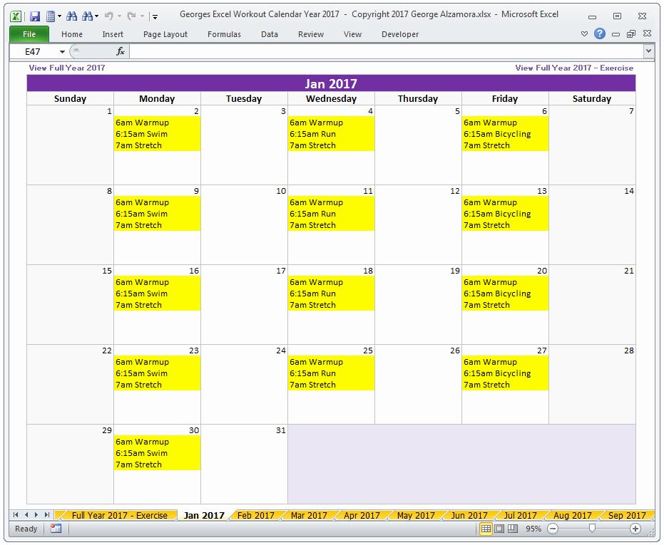 Workout Calendar Template Excel