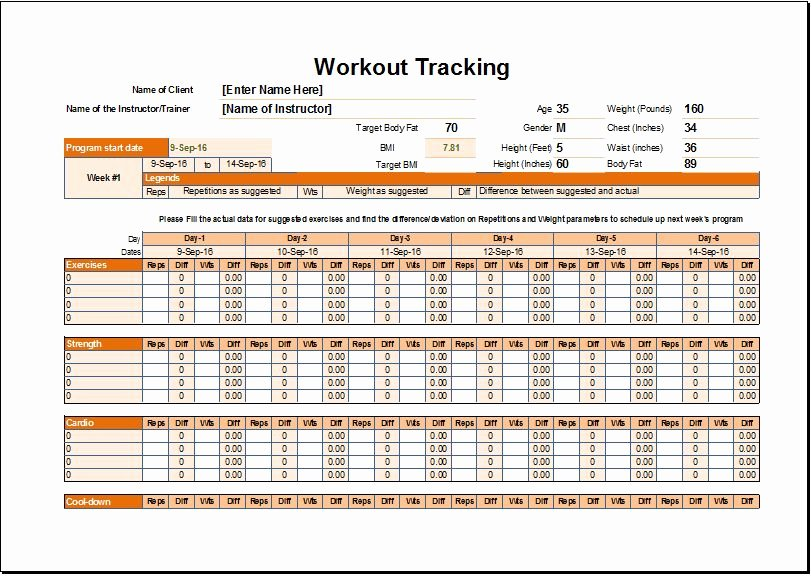 Workout Schedule & Tracker Template for Excel
