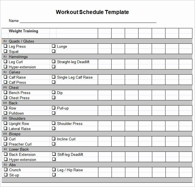 Workout Schedule Template 27 Free Word Excel Pdf