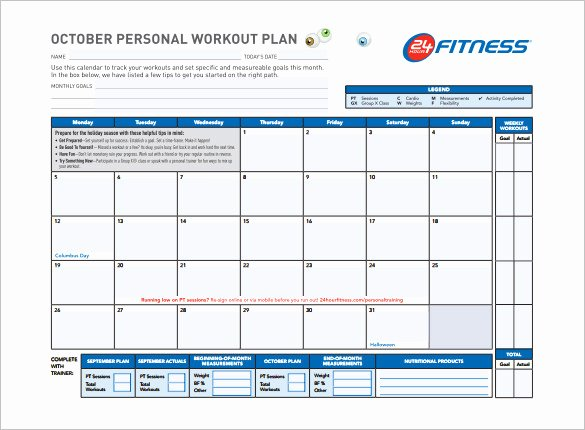 Workout Schedule Template 6 Free Sample Example format