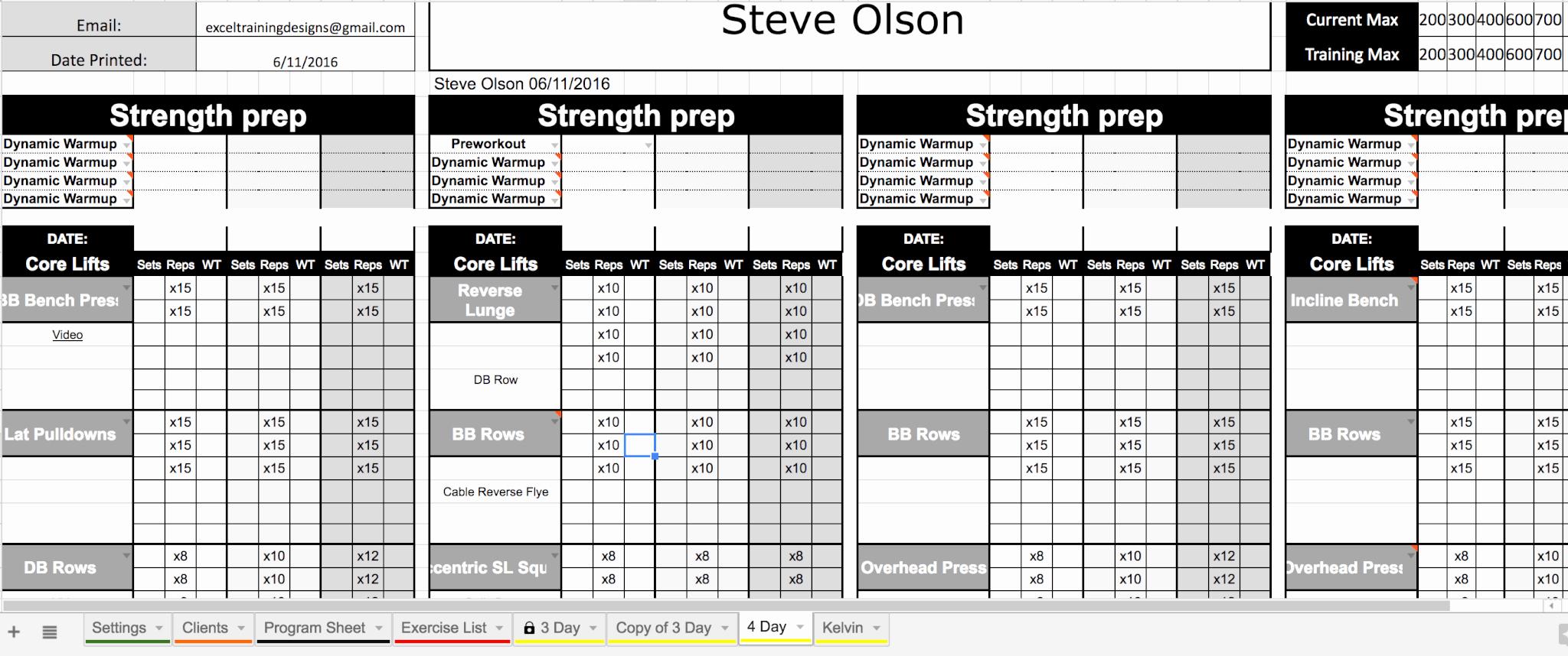Workout Spreadsheet Google Sheets – Blog Dandk