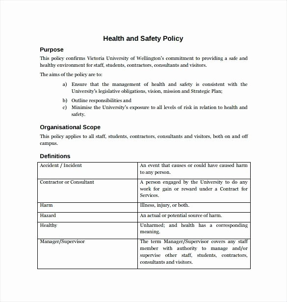 Workplace Health and Safety Manual Template Contractor