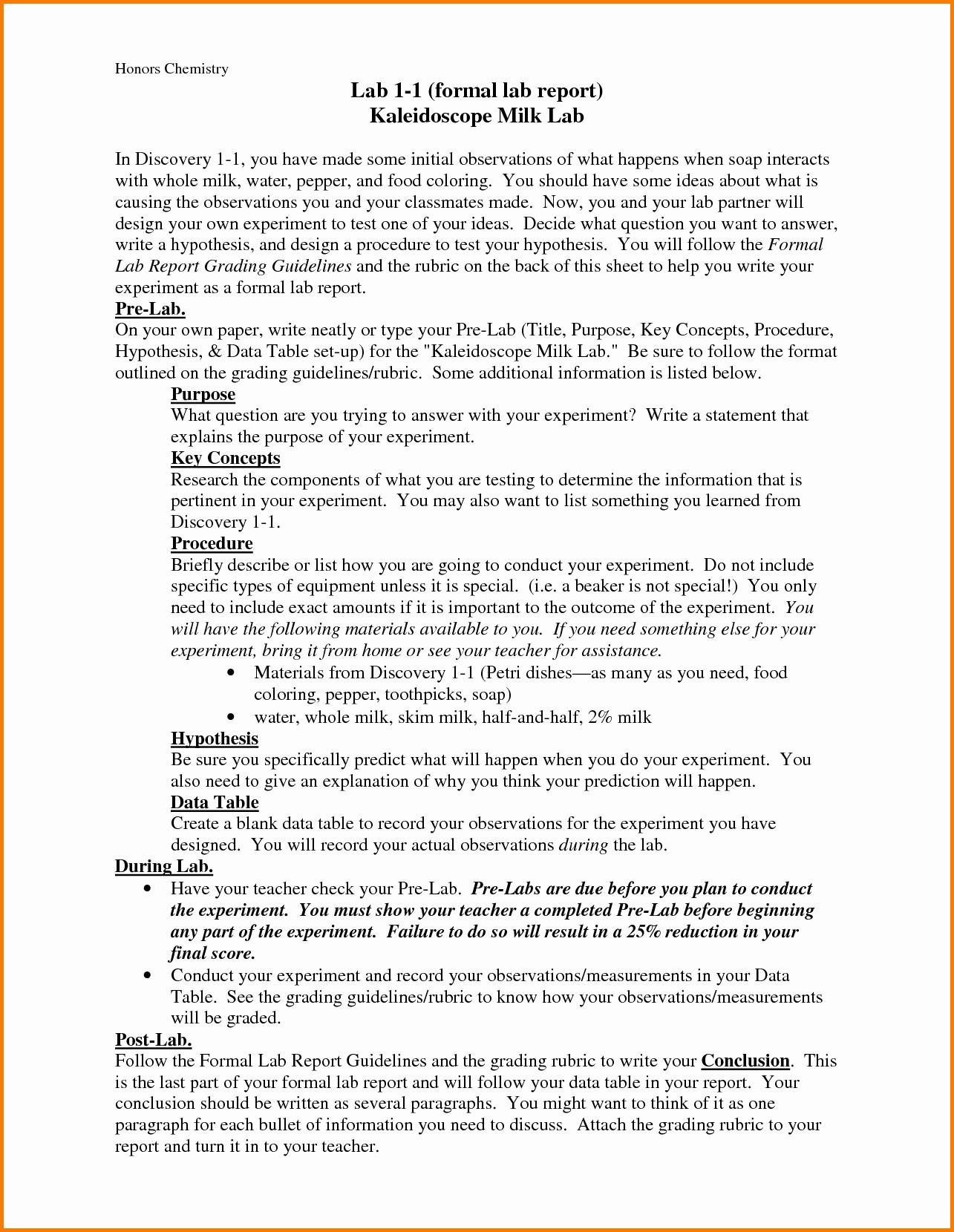 Write Hypothesis Lab Report original