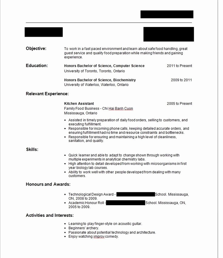 Write Resume First Time with No Job Experience Sample