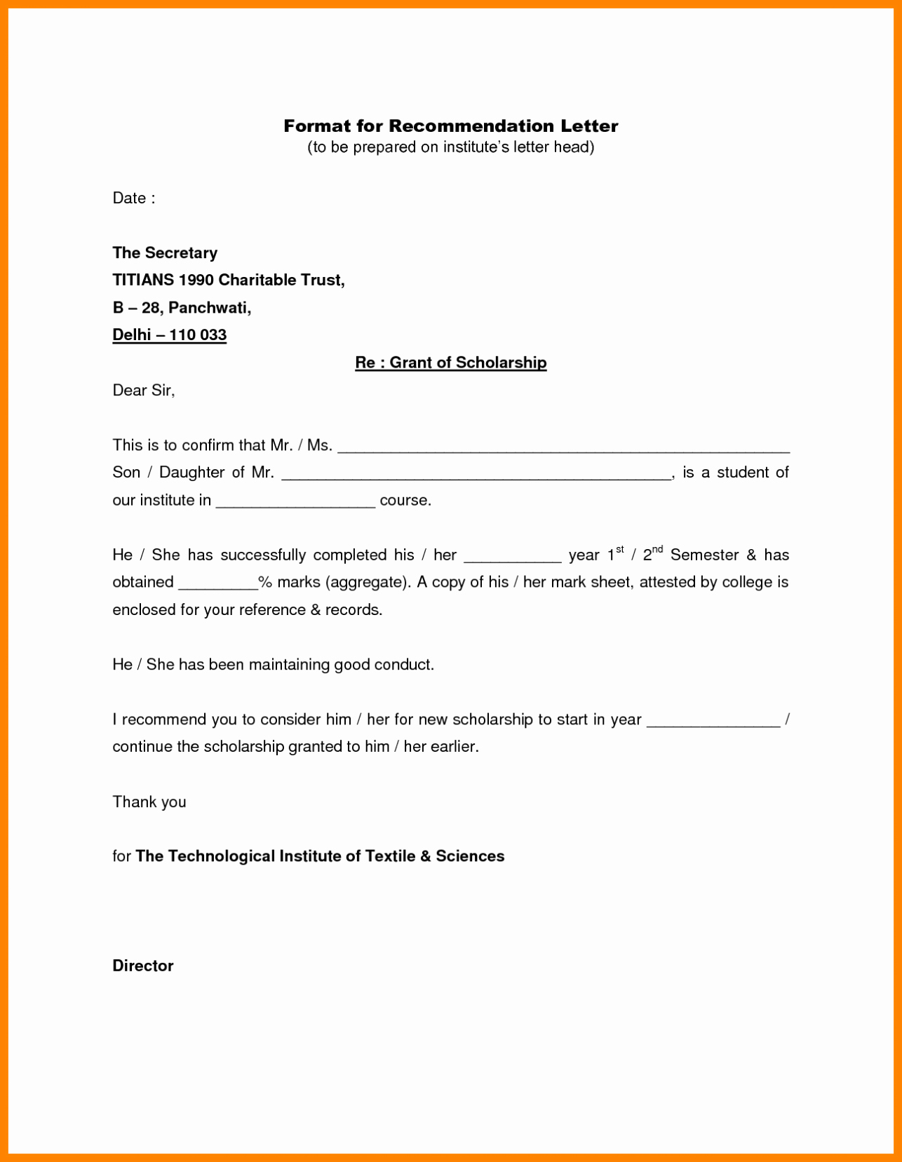 Writing A Letter Of Re Mendation Template Sample