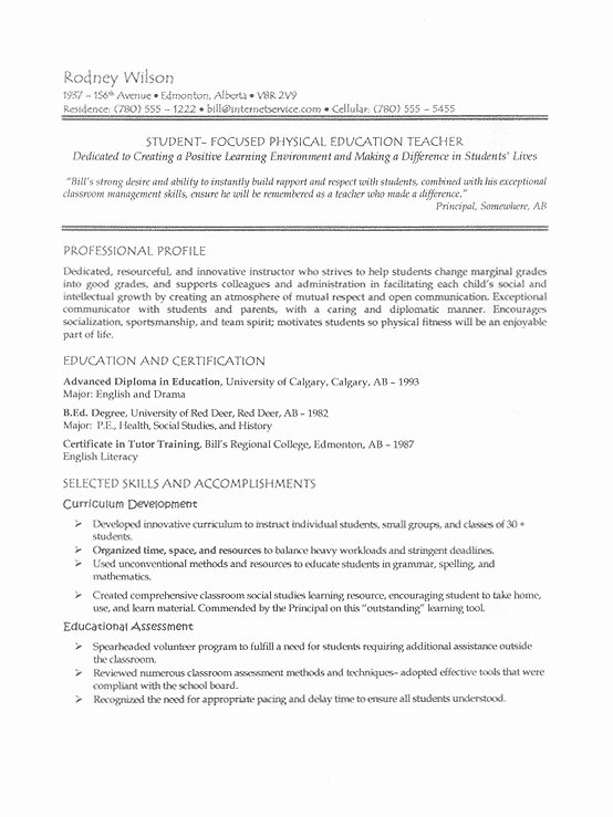 Writing A Resume for A Teaching Position Best Resume