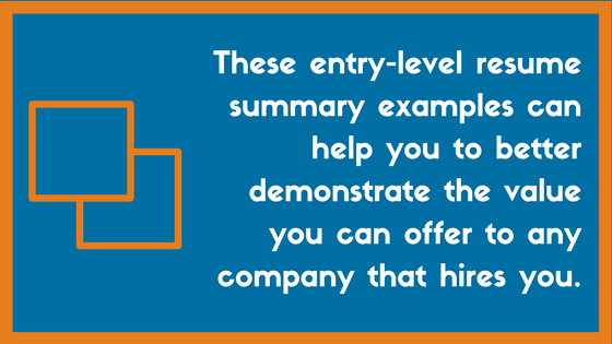 Writing An Entry Level Resume Summary Examples – Zipjob