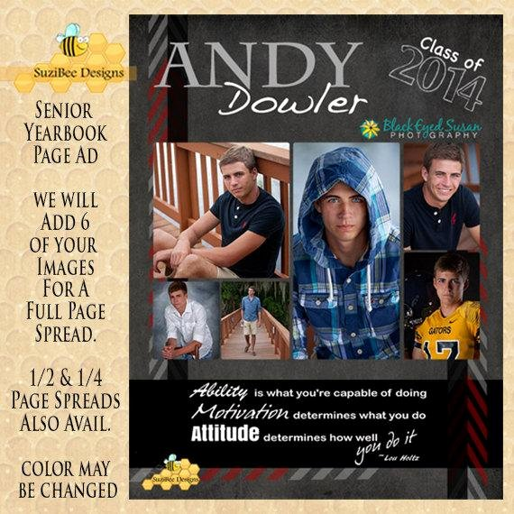 Yearbook Ad Template High School Senior Middle