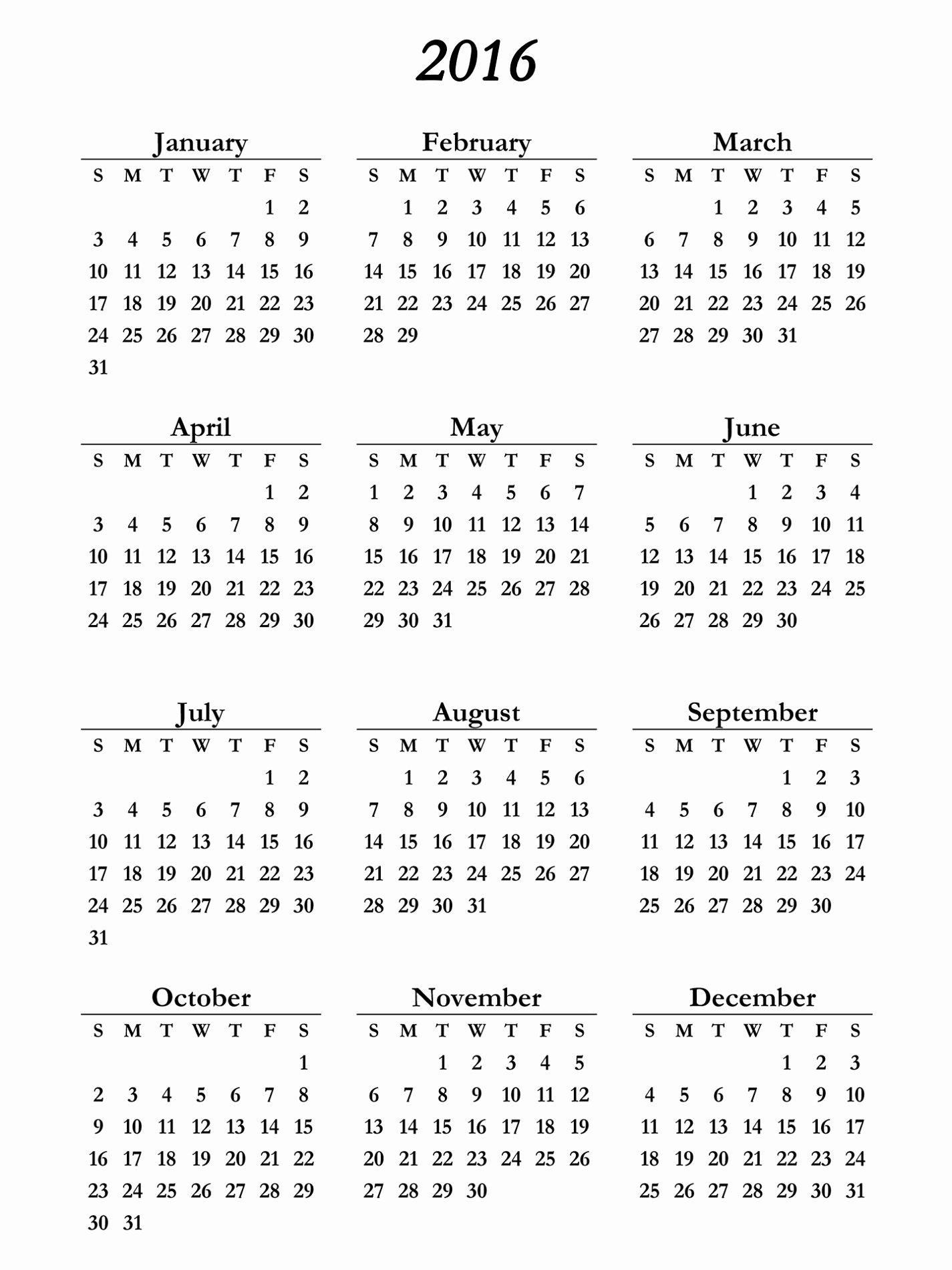 Yearly Calendar 2016 Printable
