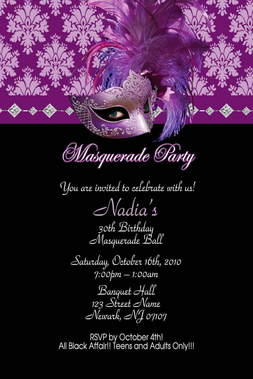 Yellow and orange Masquerade Happy Party Invitations