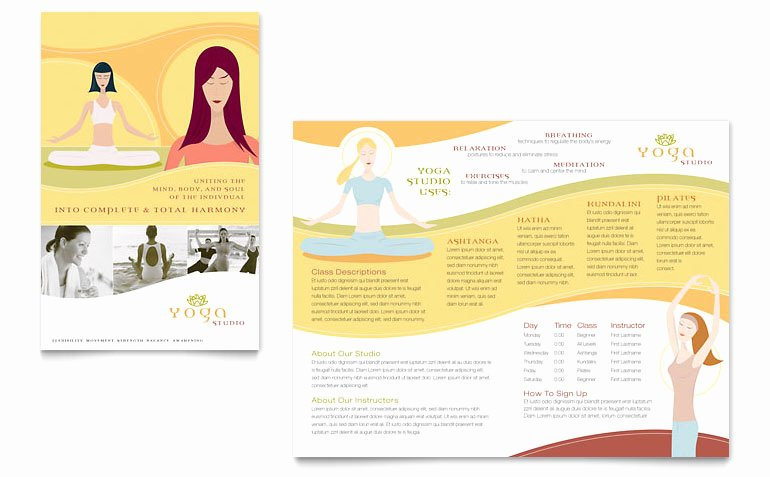 Yoga Instructor & Studio Brochure Template Word & Publisher
