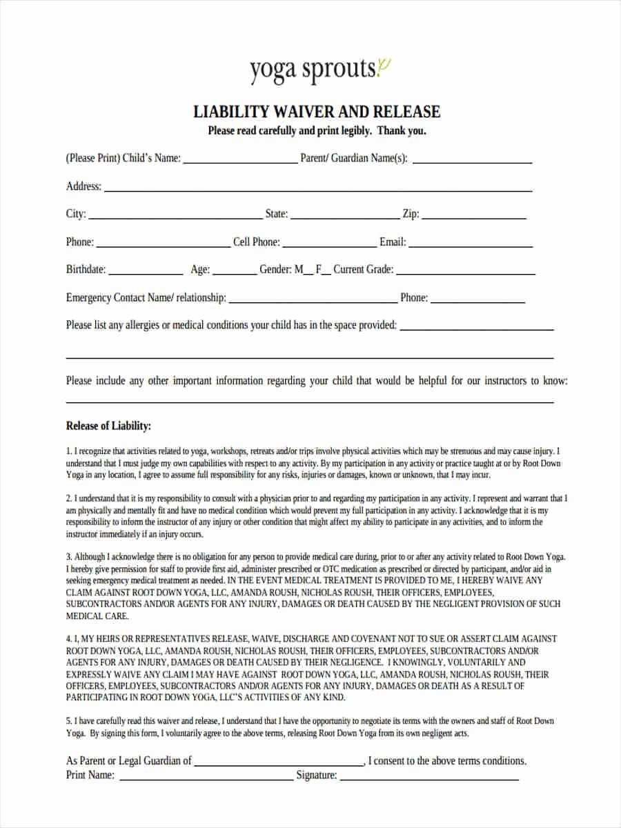 yoga waiver sign in sheet
