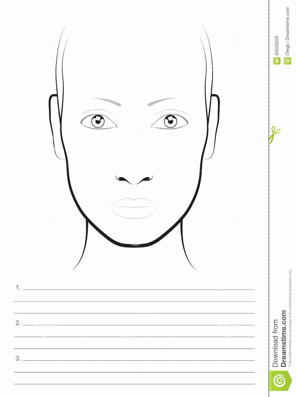 Young Woman Face Chart Makeup Artist Blank Template