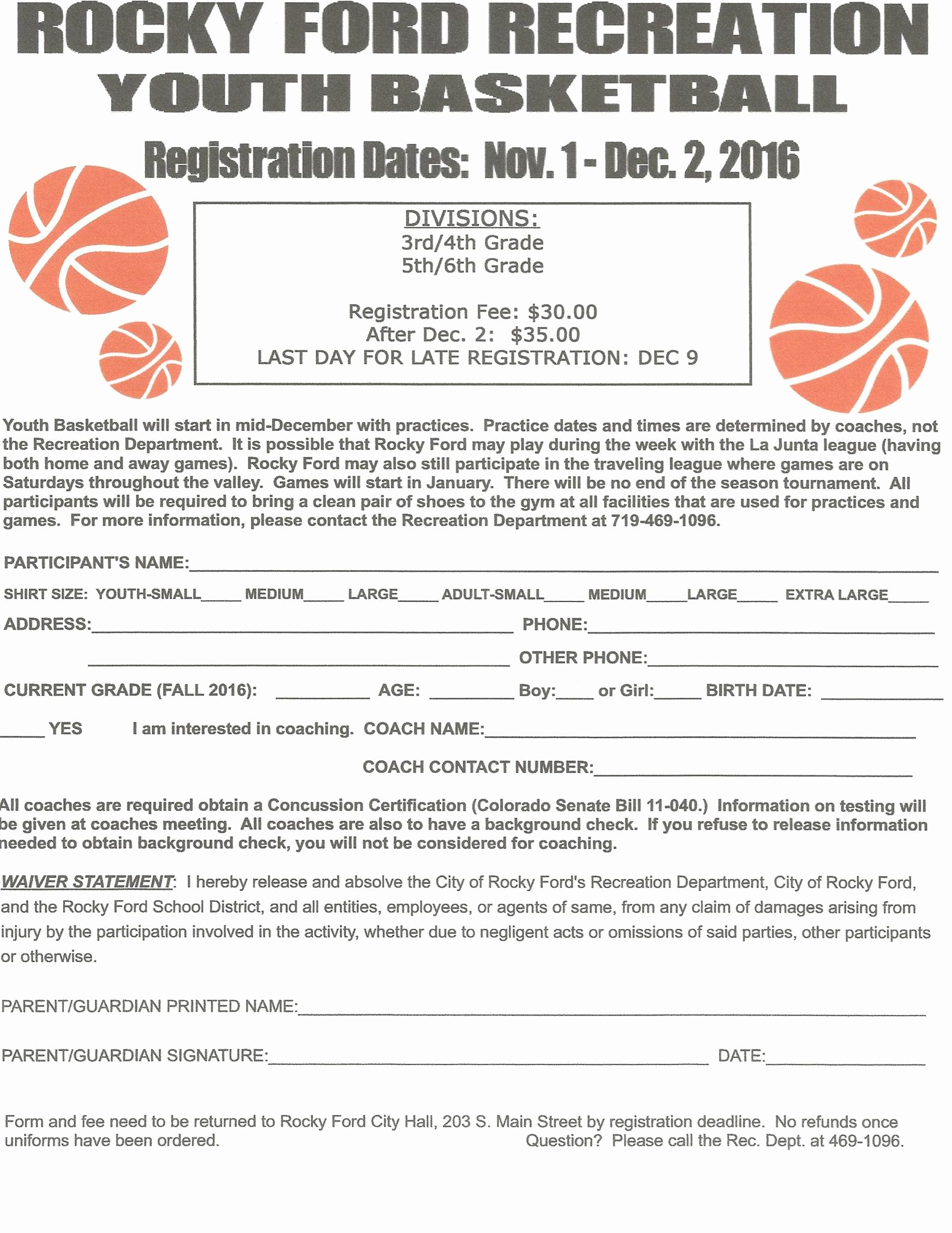 Youth Basketball Registration form • Rocky ford Co