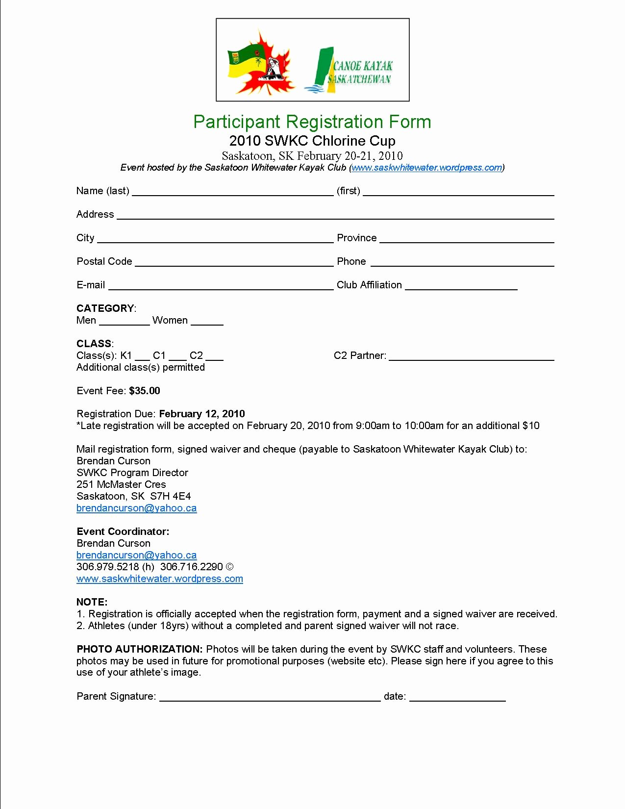 Youth Conference Registration form Template Gallery