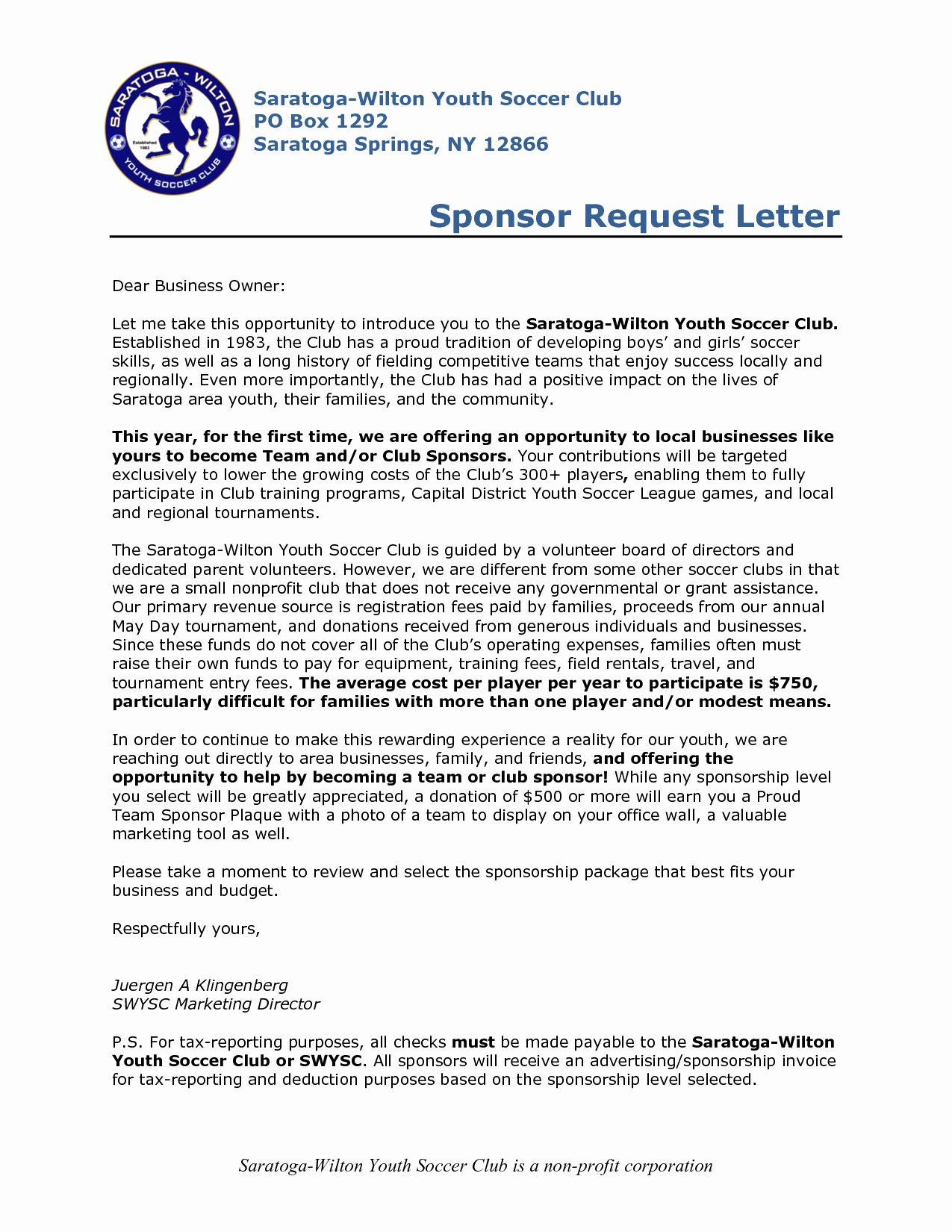 Youth Football Sponsorship Letter Template Examples