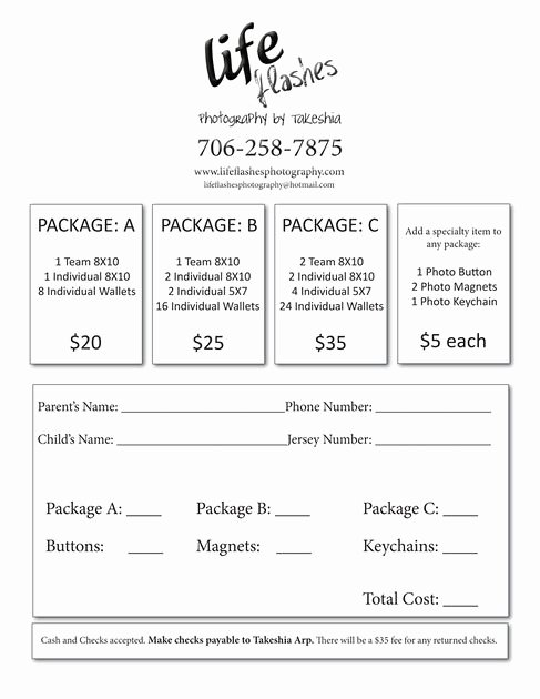 Youth Sports Photography order form