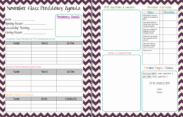 Yw Class Presidency Agenda Lds Planners for Mormon Moms