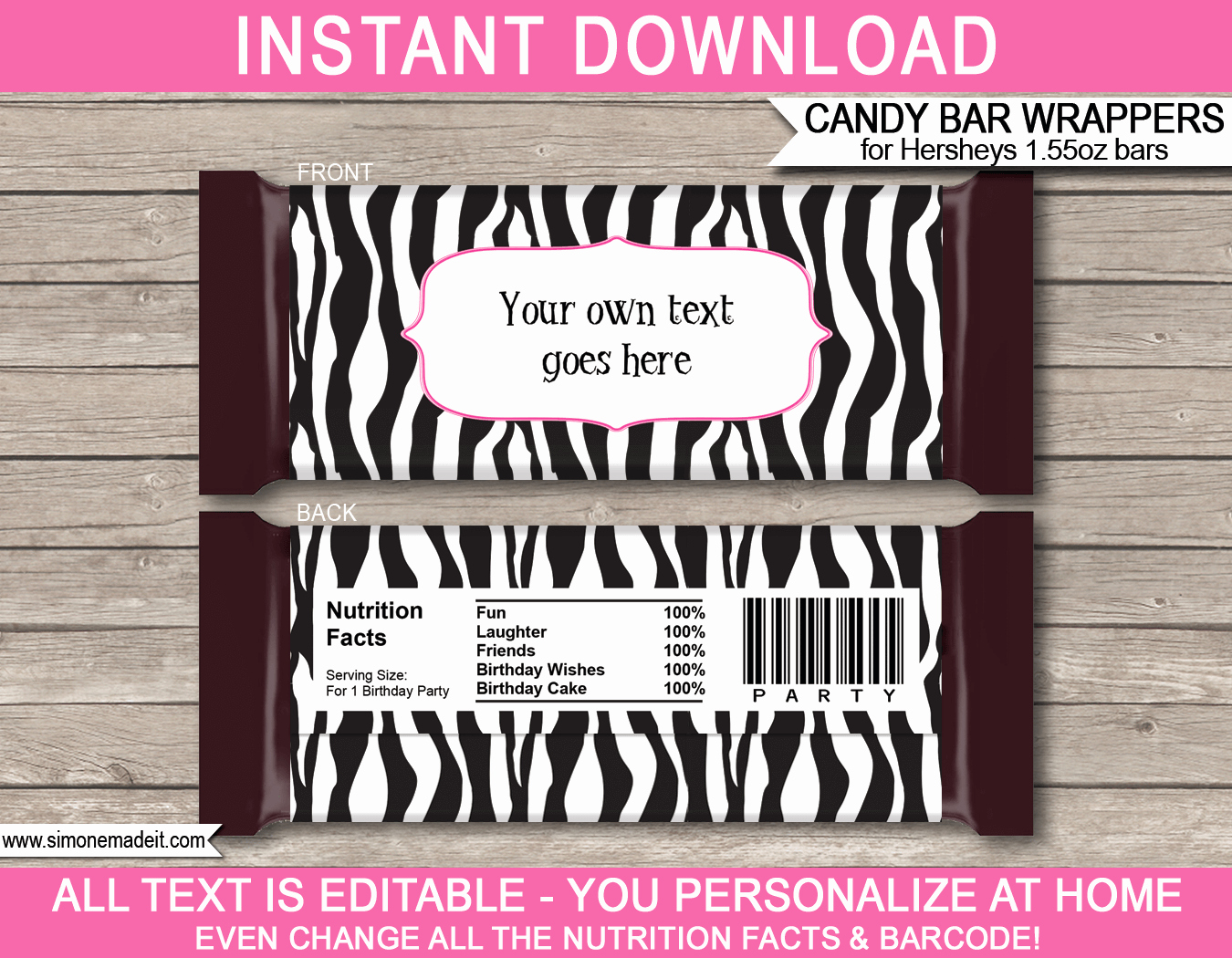 Zebra Hershey Candy Bar Wrappers