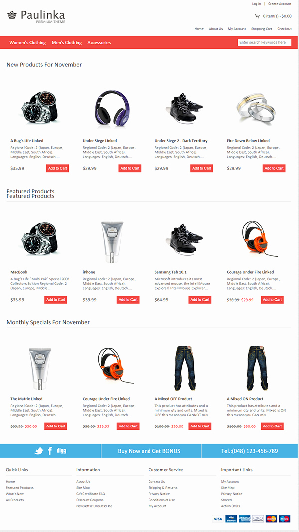 Zen Cart Mobile Website Templates & themes