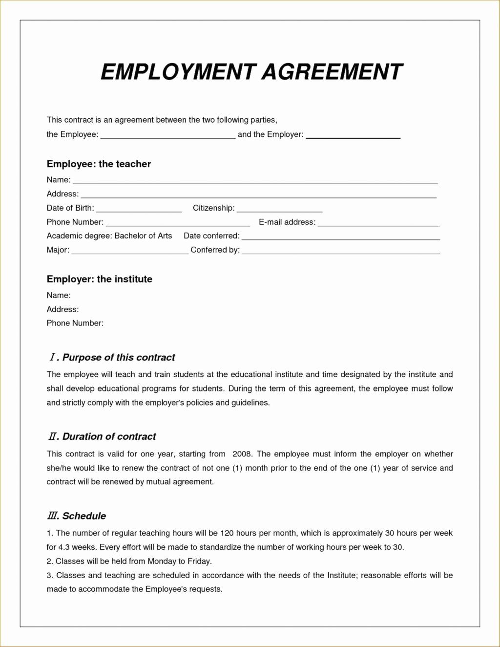Zero Hour Contract form